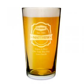 Classic Personalised Pint Beer Glass