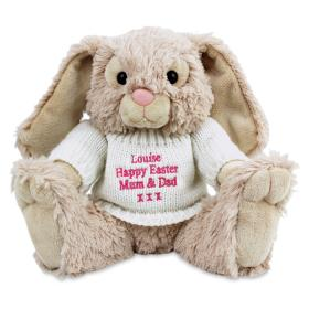 Bunny with Personalised Jumper - Pink Thread