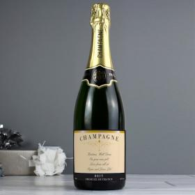 Champagne with Personalised Message Label