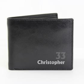 Birthday Age Personalised Leather Wallet - Black