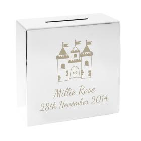 Castle Personalised Square Money Box - Nickel Plated