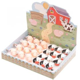 Cow and Pig Farmyard LED Key Ring - Box of 24