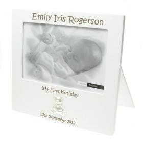 1st Birthday Teddy Personalised Engraved Photo Frame - White