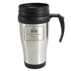 Crown Personalised Thermal Travel Mug
