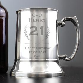 Age Crest Personalised Stainless Steel Tankard