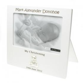 Teddy Personalised Engraved Christening Photo Frame - White
