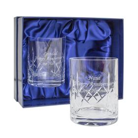 Whisky Crystal Personalised Tumblers - Set of 2