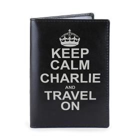 Keep Calm Personalised Leather Passport Holder - Black