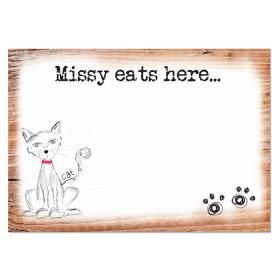 Cat Scribble Personalised Food Mat