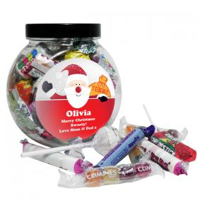 Santa Round Sweet Personalised Jar