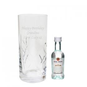 Bacardi Personalised Crystal Hi Ball & Miniature Gift Set
