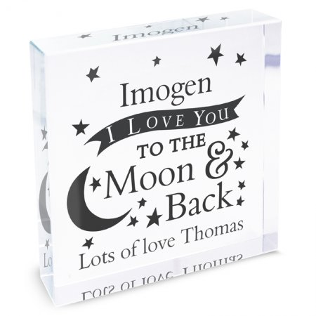To the Moon & Back Personalised Crystal Block - Large