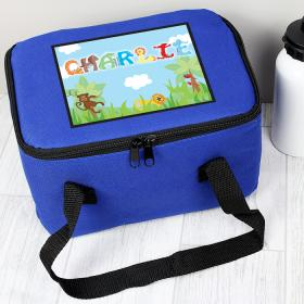 Animal Personalised Lunch Bag - Animal Letter Blue