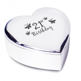 21st Birthday Heart Trinket Box - Nickel Plated