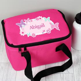 Butterfly Personalised Lunch Bag - Pink