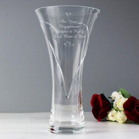 Hearts Personalised Vase with Swarovski Elements - Large