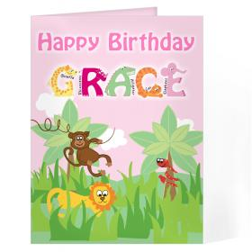 Animal Message Personalised Card - Girls