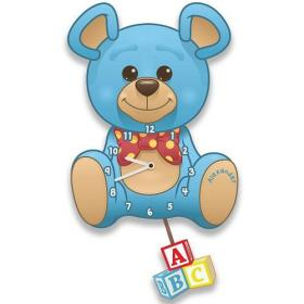 Teddy Bear Personalised Pendulum Wall Clock - Blue