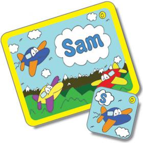 Aeroplane Personalised Placemat and Coaster Set