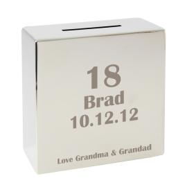 Age Personalised Square Money Box - Nickel Plated