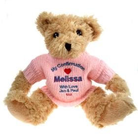 Confirmation Personalised Teddy Bear - Pink Jumper