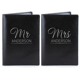 Mr & Mrs Personalised Leather Passport Holders - Set of 2 Black