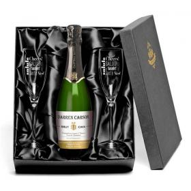 Cava Personalised Label & Cheers Flutes with Gift Box