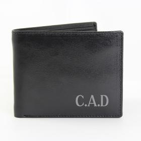 Initials Personalised Leather Wallet - Black