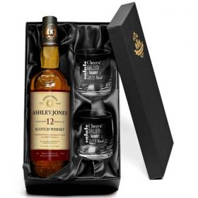 Knockando Personalised 12Y Malt Whisky & Cheers Glasses+Gift Box