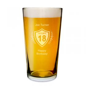 Age Crest Personalised Pint Beer Glass