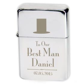 Best Man Personalised Lighter - Top Hat Motif