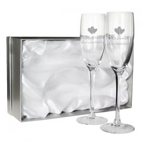 Anniversary Diamond Engraved Heart Motif Flutes - Set of 2