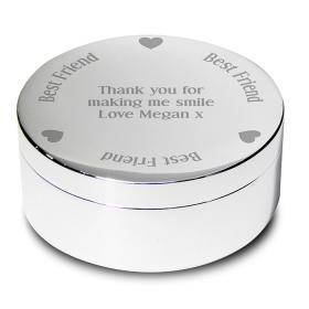 Best Friend Personalised Round Trinket - Nickel Plated