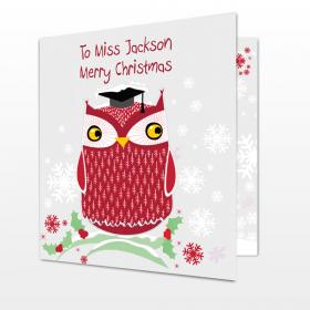 Christmas Teacher Personalised Owl Card