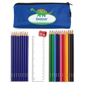 Dinosaur Personalised Pencil Case & Pencils - Blue