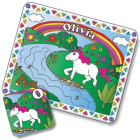 Unicorn Personalised Placemat and Coaster Set