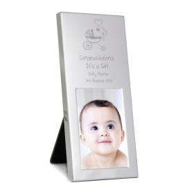 Pram Personalised Photo Frame - Aluminium