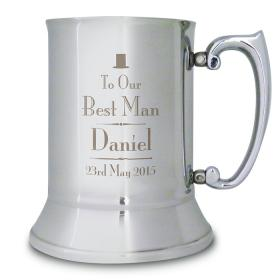 Best Man Personalised Wedding Tankard - Top Hat Motif