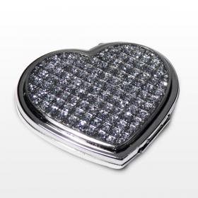 Heart Diamante Personalised Compact Mirror