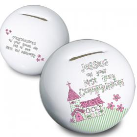1st Holy Communion Moneybox - Whimsical Church Pink