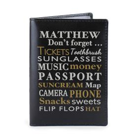 Dont Forget Personalised Leather Passport Holder - Black