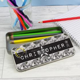 Army Camo Personalised Pencil Tin Box with Pencil Crayons