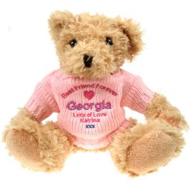 Best Friend Personalised Light Brown Teddy Bear - Pink Jumper