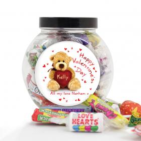 Teddy Heart Personalised Sweet Jar