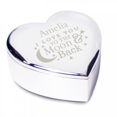 To the Moon & Back Personalised Heart Trinket - Nickel Plated