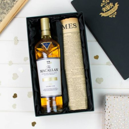 Macallan Double Cask Whisky and Original Newspaper with Gift Box