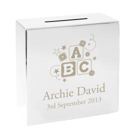 ABC Personalised Square Money Box - Nickel Plated