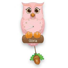 Owl Personalised Pendulum Wall Clock - Pink