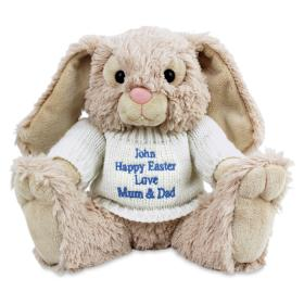 Bunny with Personalised Jumper - Blue Thread