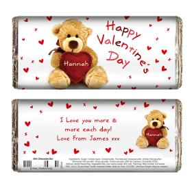 Teddy Heart Personalised Chocolate Bar